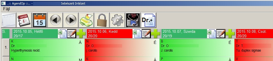 Available features and days of the week. (Red days are fully booked, and 'super user' is able to register here too. Daily data can be saved in Excel..